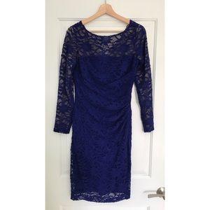 Ralph Lauren Royal Blue Lace Overlay Dress